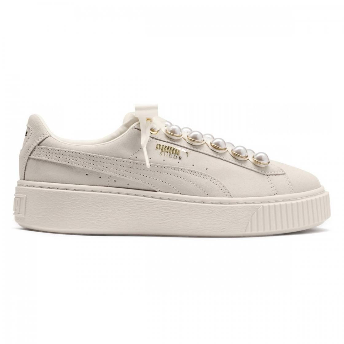 Baskets mode Femme | Basket Platform Bling Suede White Beige | Puma
